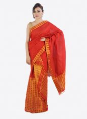 Red Mekhela chador designed in Brocade Guna