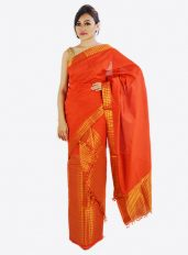 Orange Mekhela chador designed in Brocade Guna