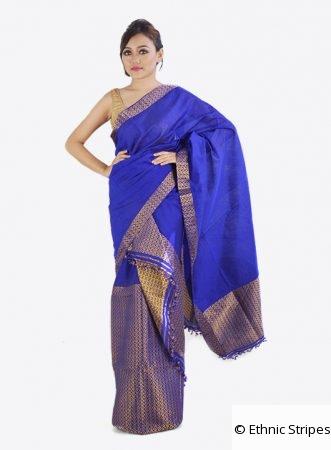 Blue Mekhela Chadar in Brocade Guna