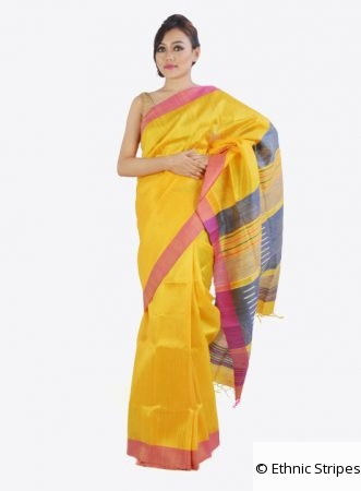 Yellow Ghicha Silk Saree