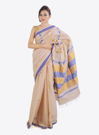Cotton Saree with golden and blue work
