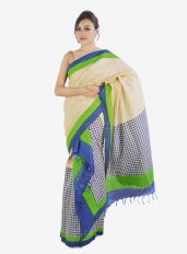 Muga colour khadi mekhela chador with green and blue Print