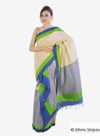 Muga colour khadi mekhela chador with green and blue Print