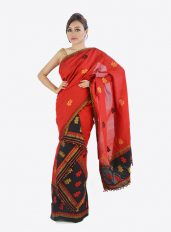 Gulab designed Red Colour mekhela chador