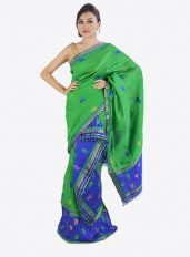Mayur Designed Mekhala Chador in Green and Blue Colour