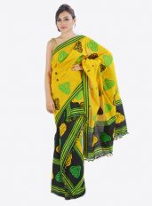 Yellow and Black Mekhala Chador with Kingkhap design