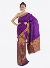 Purple Mekhela chador with Brocade Design