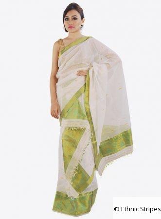 Cream Colour cotton and silk Mekhela Chador