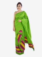 Green Stripped Mekhela Chadar set