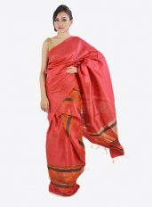 Red Ghicha Silk Mekhela Chadar with Net pallu