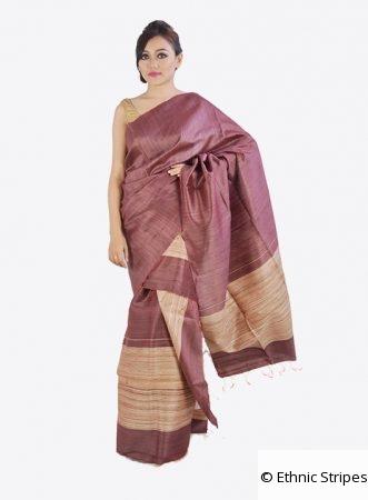 Light Purple Ghicha Silk Mekhela Chadar Set