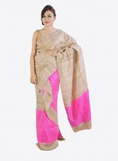 Brown and Pink Colour Ghicha Silk Mekhela Chadar Set