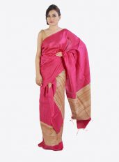 Pink Colour Ghicha Silk Mekhela Chadar Set