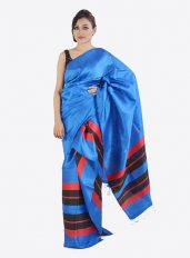 Dark Blue Colour Ghicha Silk Mekhela Chadar Set