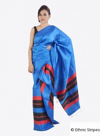Dark Blue Colour Ghicha Silk Mekhela Chadar Set