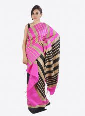 Pink Colour Ghicha Silk Mekhela Chadar Set with black stripes