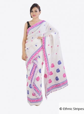 Mekhela Chadar set with Pink-Purple work