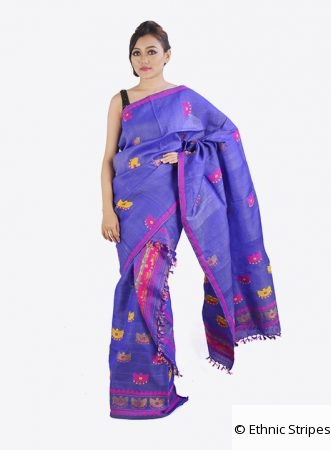 Purple colour Mekhela Chadar set