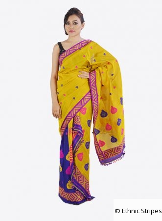 Mekhela Chadar Set in Yellow and Blue