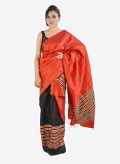 Ghicha Silk Mekhela Chadar Set in Red and Black
