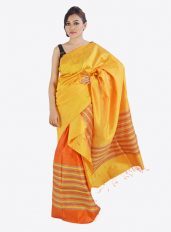 Ghicha Silk Mekhela Chadar Set in Yellow and Orange