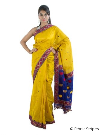 Light Yellow Saree with Junbiri design