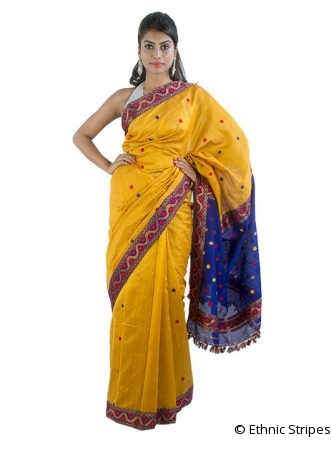 Dark Yellow Saree with Buti design