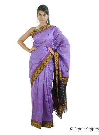Purple Saree with Multicoloured Buti Design