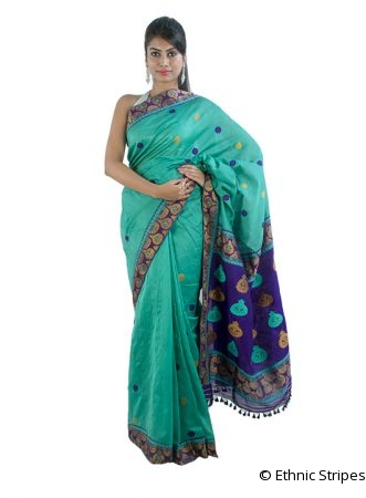 Sea Green Saree in Contrast Purple Aanchal