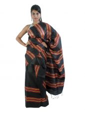 Stripped Black Ghicha Silk Mekhela Chadar