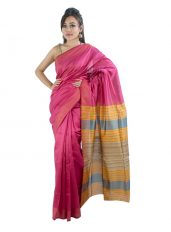 Glossy Pink Saree with Stripped Aanchal