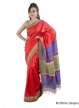 Glossy Red Saree in Temple Design
