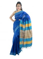 Royal Blue Saree with Stripped Aanchal