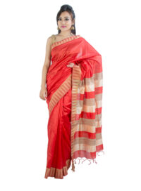 Bright Red Saree in Temple Design
