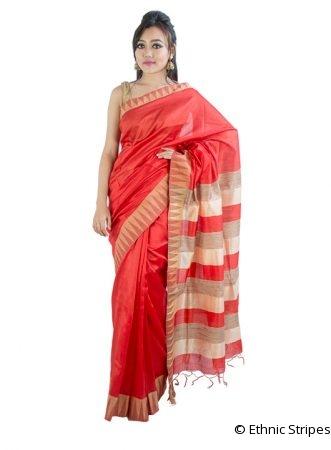 Bright Red Saree in Temple Design