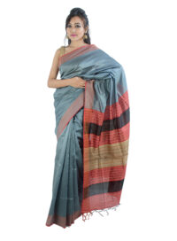 Silver Grey Saree with Stripped Aanchal