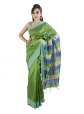 Glossy Green Saree with Stripped Aanchal