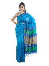 Glossy Blue Saree with Stripped Aanchal