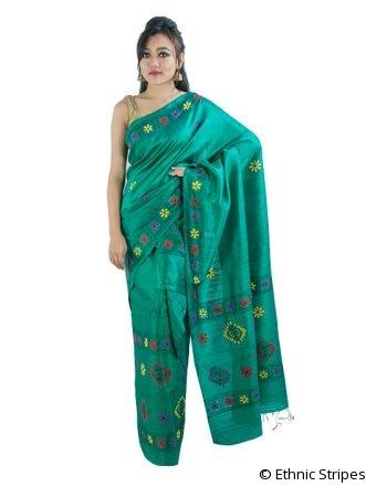 Green Kantha Stitch Ghicha Silk Mekhela Chadar