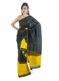 Black and Yellow Mekhela Chadar with Floral motifs