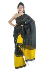 Black and Yellow Mekhela Chadar with Floral motifs