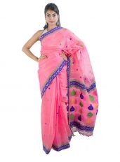 Light Pink Raw Mulberry Silk Saree in Kingkhap Design