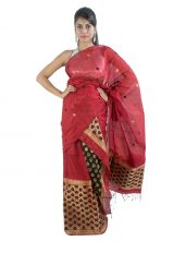 Deep Red Mekhala Chadar with Lata Design