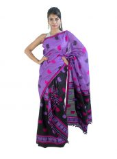 Violet and Black Mekhela Chadar with Junbiri Design