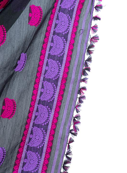 Violet and black mekhela chadar with junbiri design