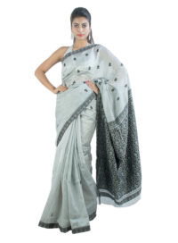 Silver and Black Gos Buta Saree