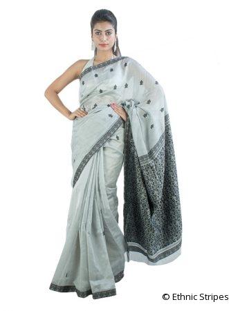 Silver and Black Gos Buta Saree