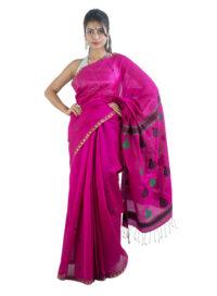 Fuschia Pink Mejangkari Style Saree
