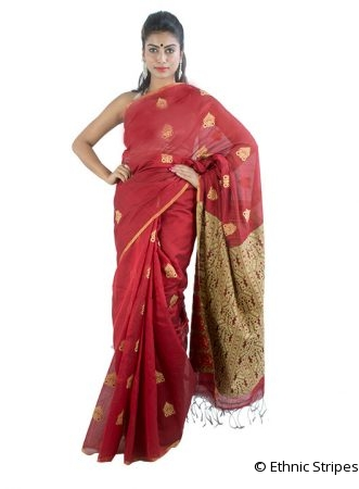 Red Meena Saree with Big Gos Buta Design
