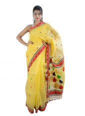 Bright Yellow Pure Mulberry Silk Saree in Kingkhap Design